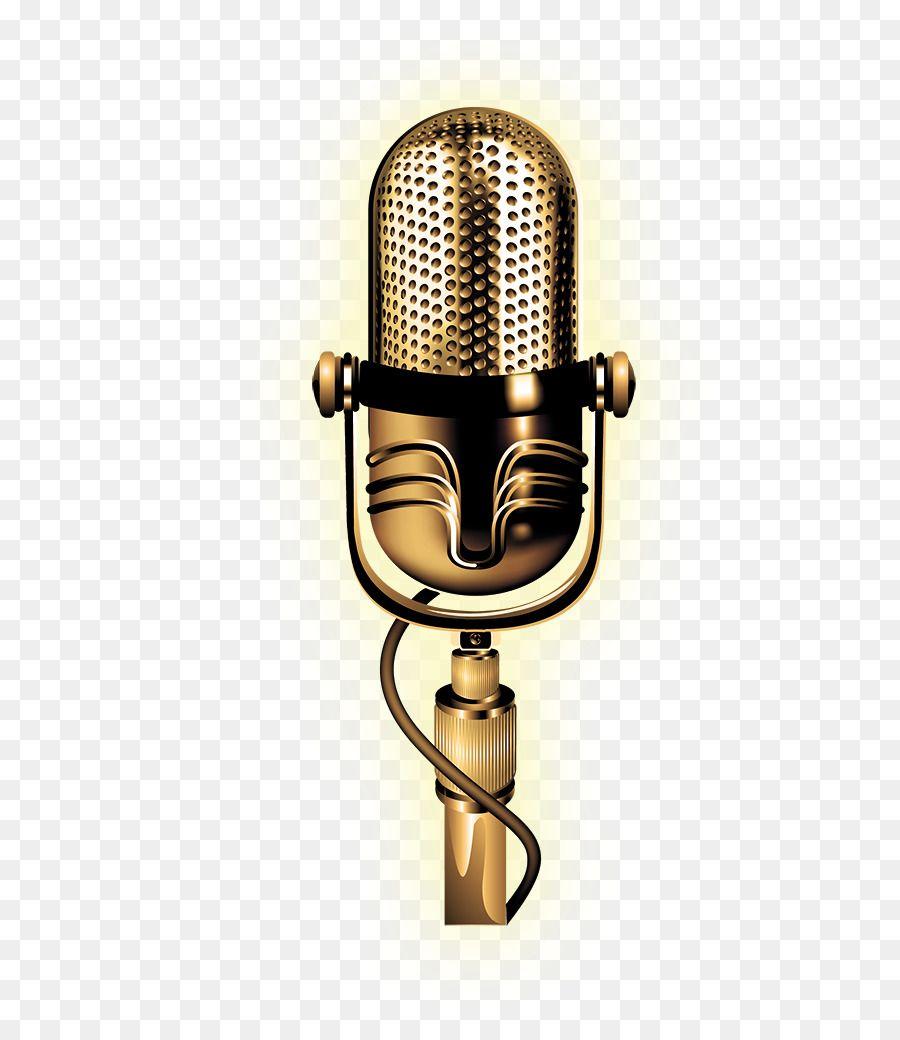 Microphone Vector Golden Microphone Png Is About Is About Microphone Brass Audio Technology Audio Equipment Design De Palco Design De Cartaz Microfones