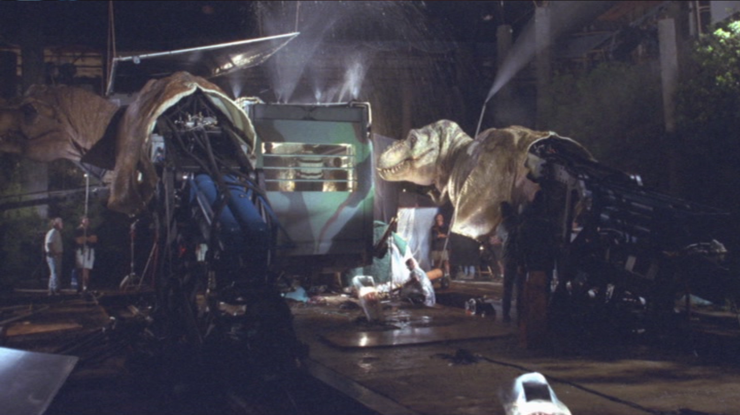 Two T-Rex animatronic models behind the scenes in The Lost ... T Rex The Lost World Jurassic Park