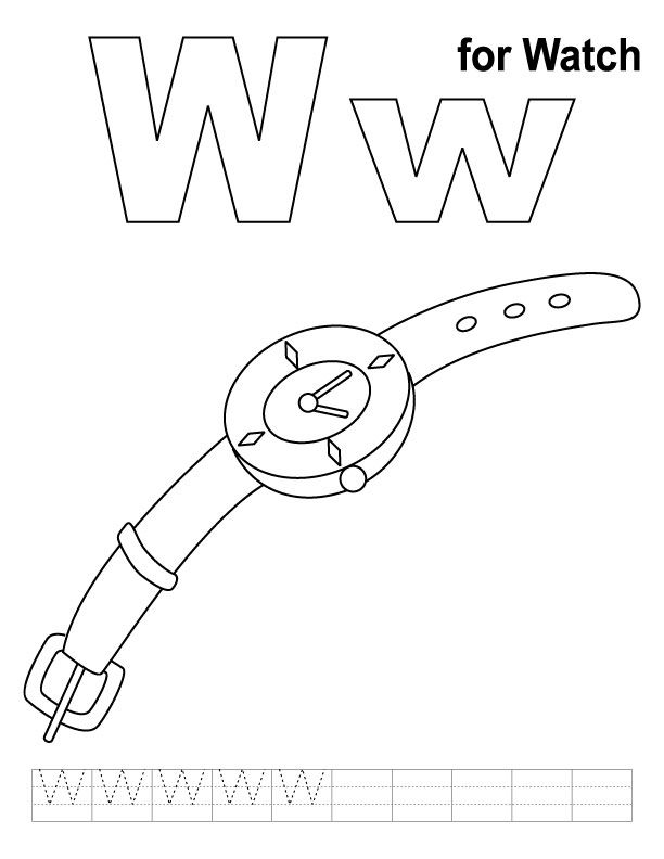 W for watch coloring page with handwriting practice