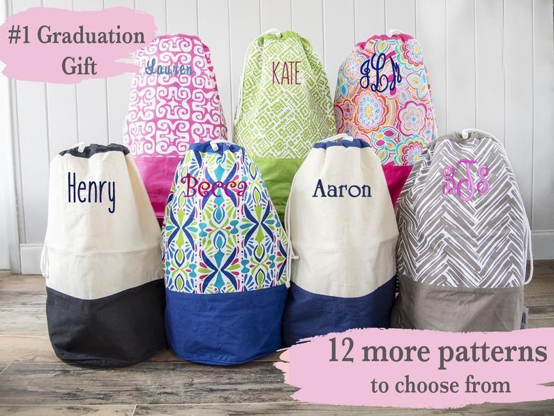 Monogrammed Laundry Bag Graduation Gift Laundry Hamper Etsy In