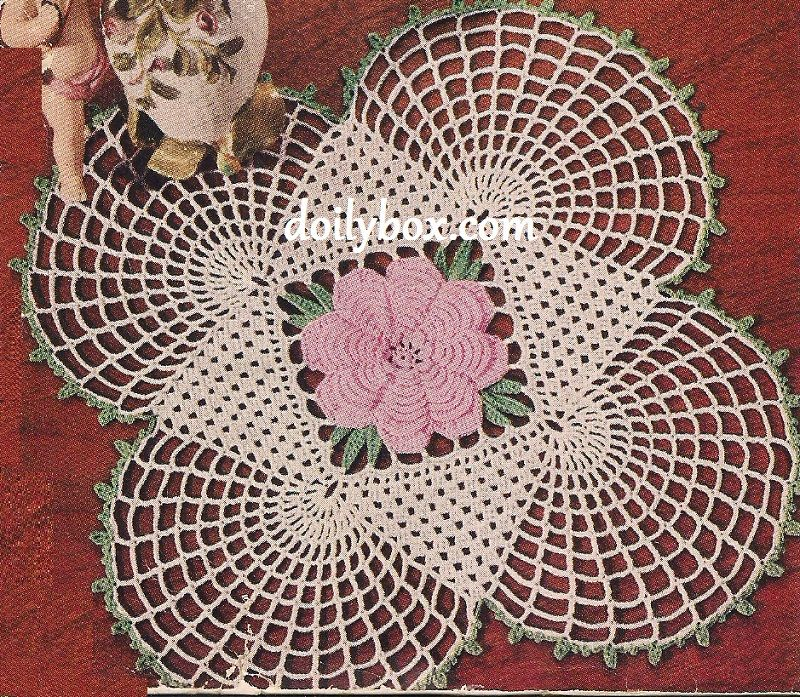 Free Crochet - Square Rose Doily Pattern | Doilies | Pinterest
