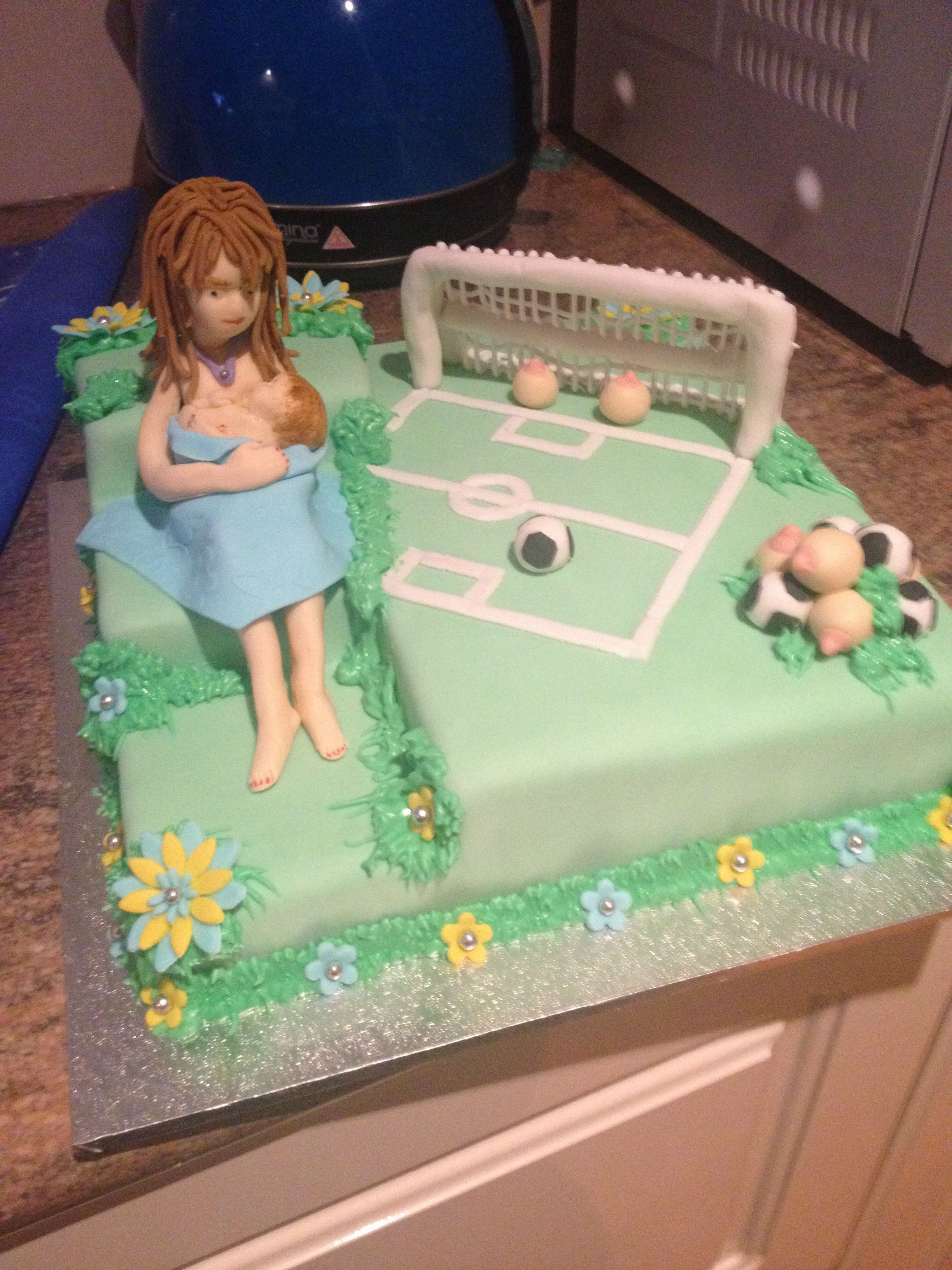 Breastfeeding Goal  Soccer Themed Cake