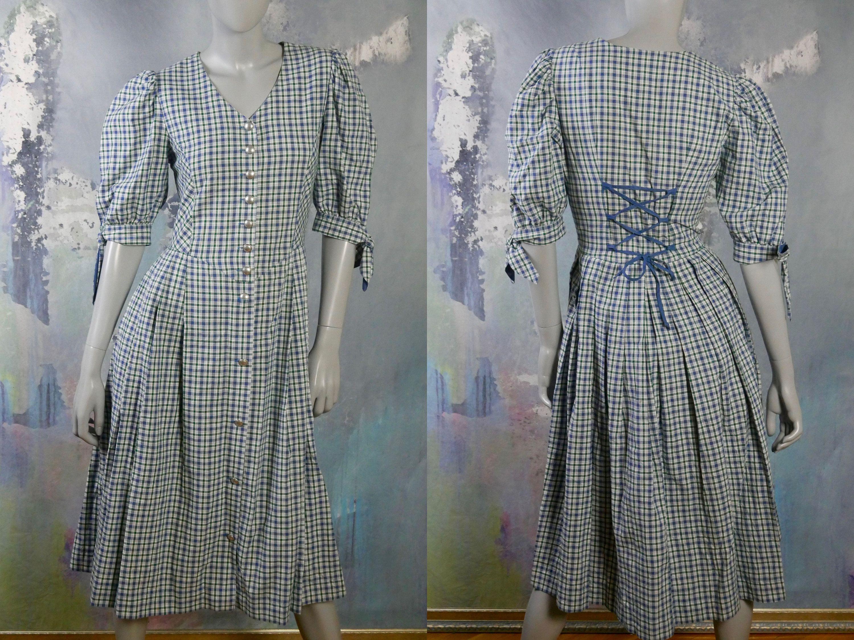 Plaid Prairie Dress Trachten Style Blue Green White Tartan Etsy In 2020 Vintage Clothes Shop Prairie Dress Vintage Clothing For Sale