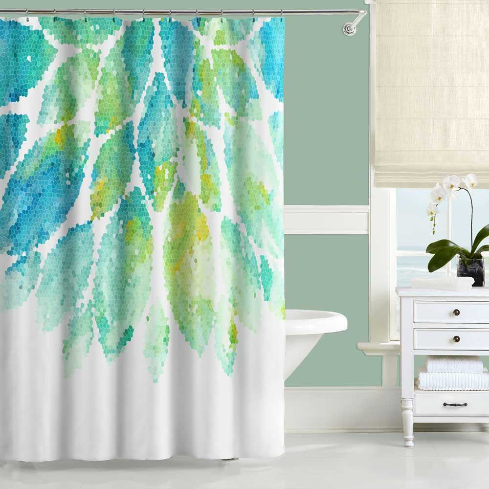 Mint Green And Blue Shower Curtain And Bath Mat Set With Floral
