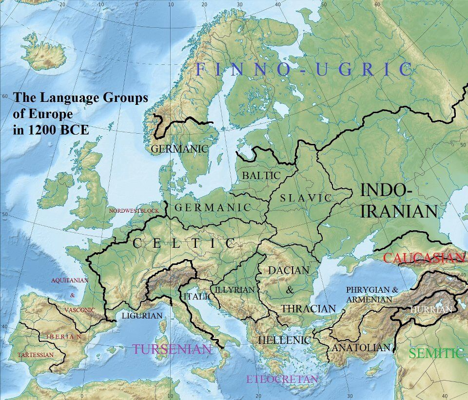 Language Groups Of Europe In 1200 Bce Karty Historical Maps