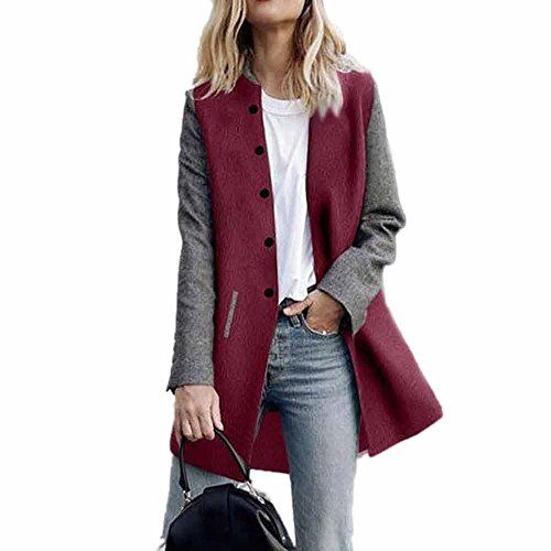 KEERADS mode femmes décontracté à manches longues contraste couture laine Cardigan bouton poche veste Long pull manteau tricots   – Blousons et Doudounes Femmes