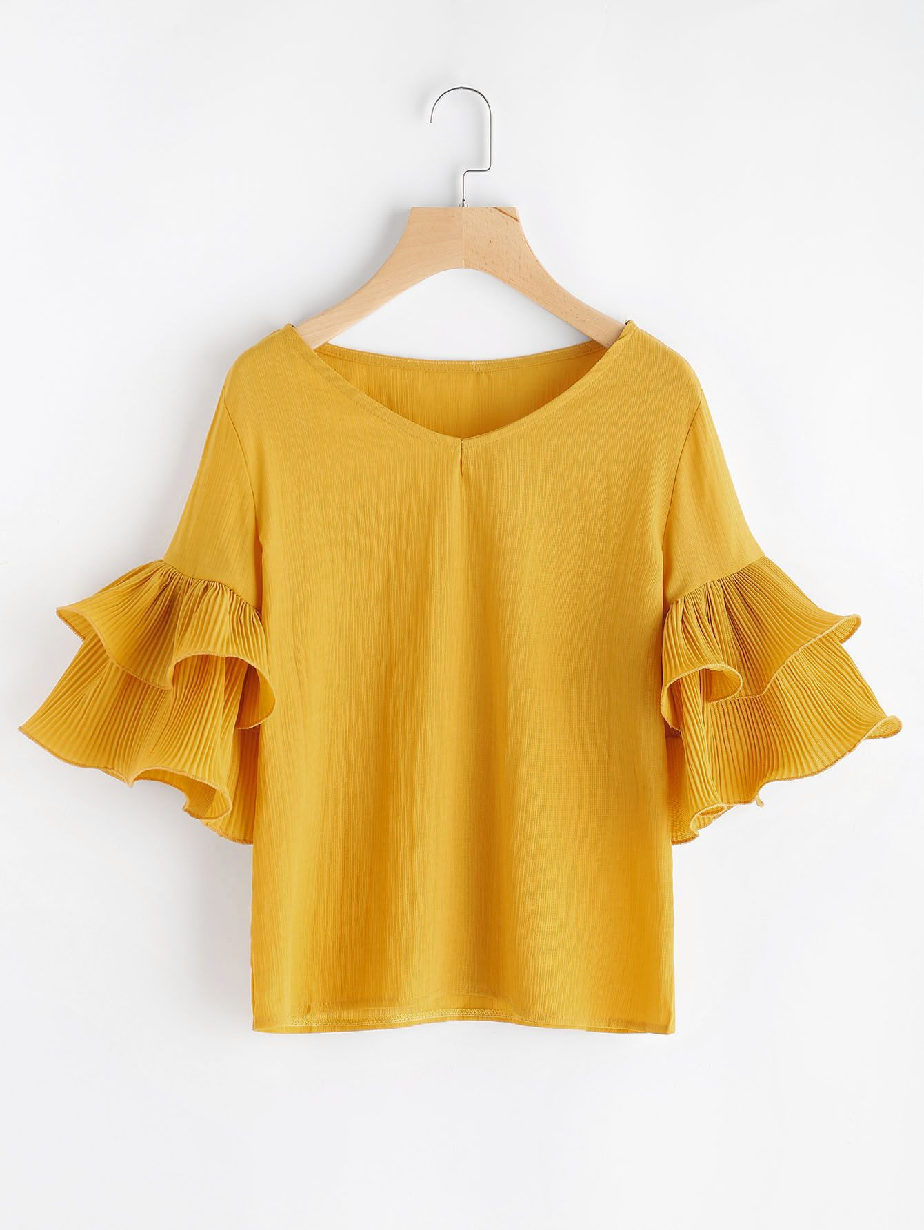 Shop V Neckline Tiered Bell Sleeve Top online. SheIn offers V Neckline  Tiered Bell Sleeve Top   more to fit your fashionable needs. 9a0cd75dfe8