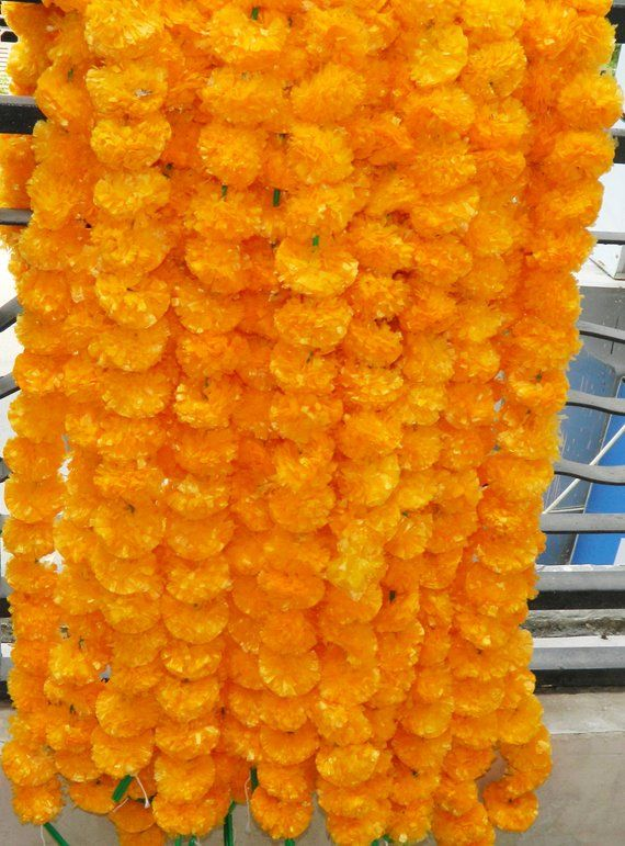 Artificial Marigold 5 feet Pack of 50 Flowers Garlands Home Wedding Decoration