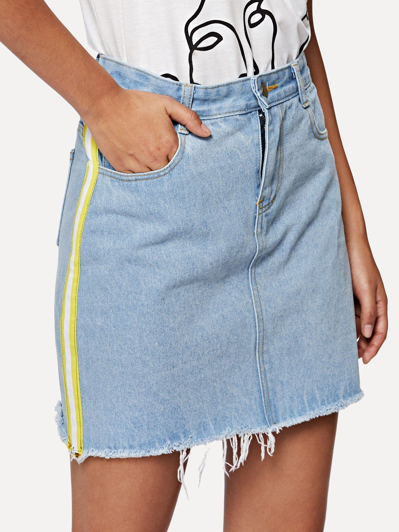 460a0ddad Stripe Side Frayed Denim Skirt   Inspiration 2020   Denim skirt ...