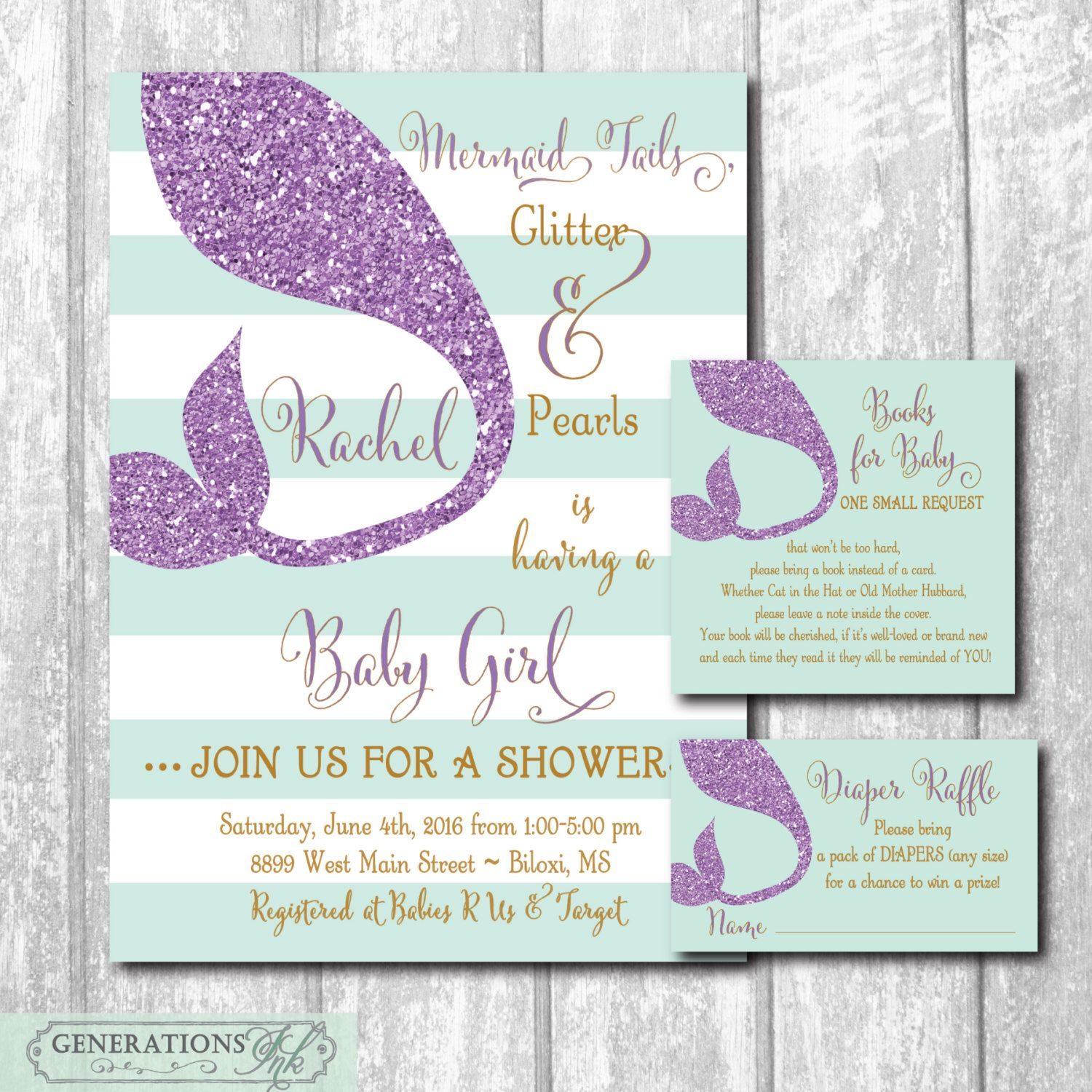 mermaid baby shower invitation with matching diaper raffle ticket