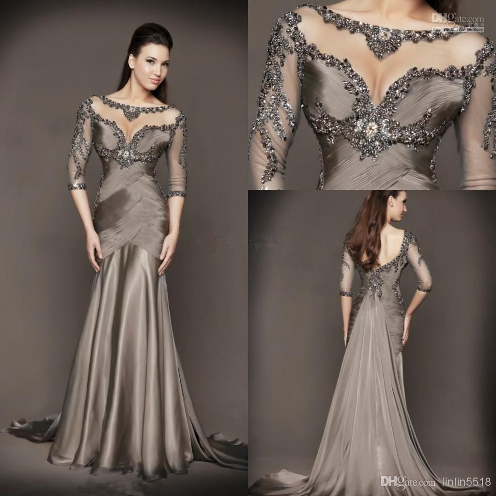 backless mermaid evening dresses formal gowns with long sleeves