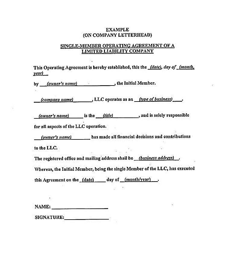 Operating Agreement Llc Template 23 Llc Operating Agreement