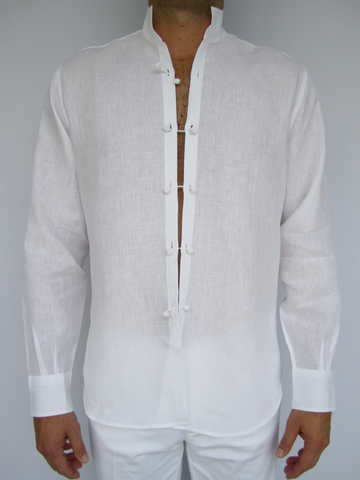 3fda456f0c Men s linen shirt with a Mandarin collar and hand-sewn cotton closures.  Available in white only.