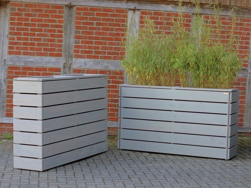 pflanzkasten holz lang m transparent ge lt grau sichtschutz abgrenzung wand. Black Bedroom Furniture Sets. Home Design Ideas