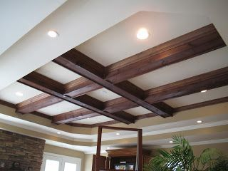 Tray Ceiling Beams Installed