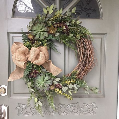 Photo of Artificial succulent wreath with fern leaves and burlap bow, front door wreath, succulent wreath