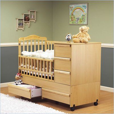 Oak Color Crib Changer Convertible Crib With Changing