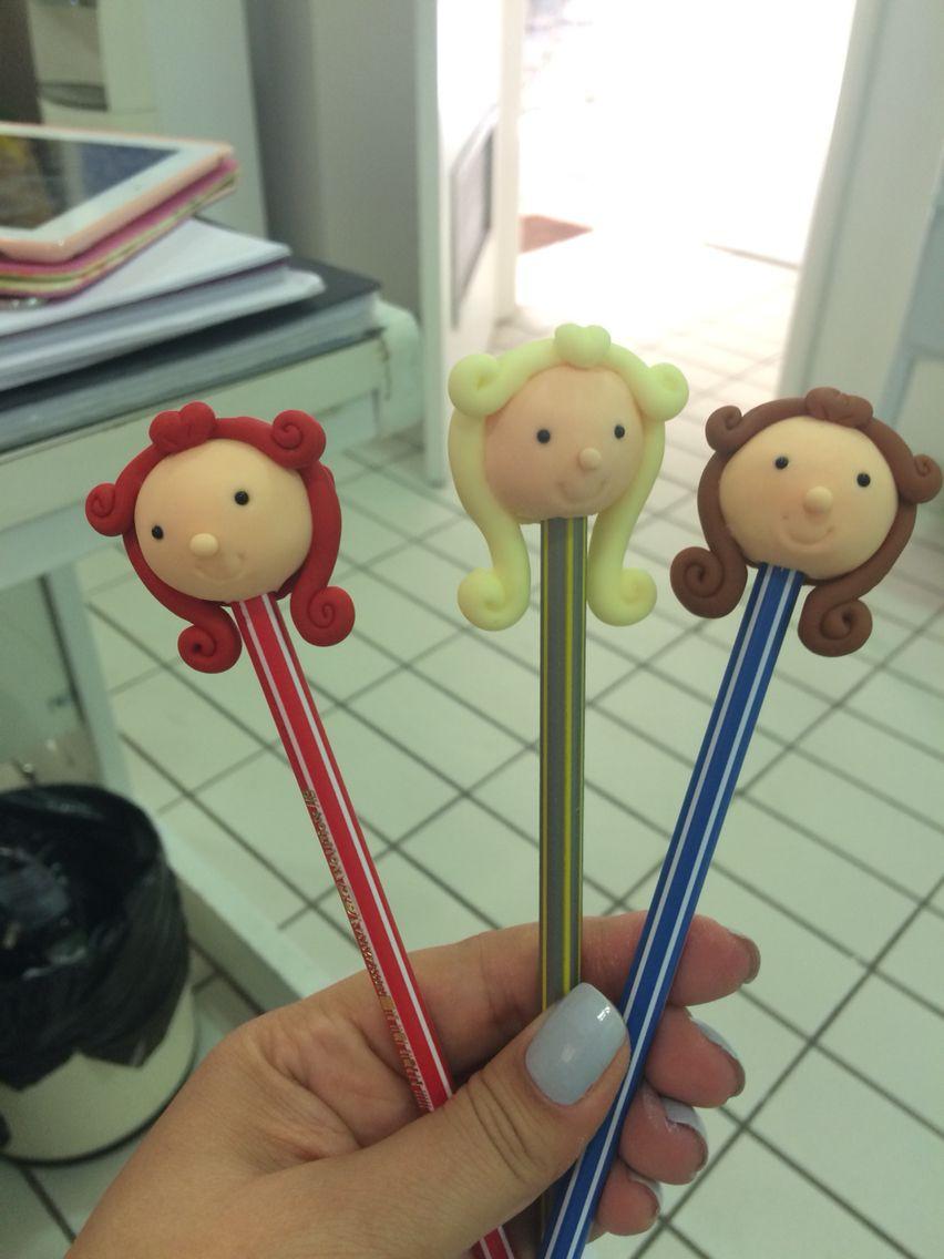 Bonequinhas ponteira de lápis em biscuit