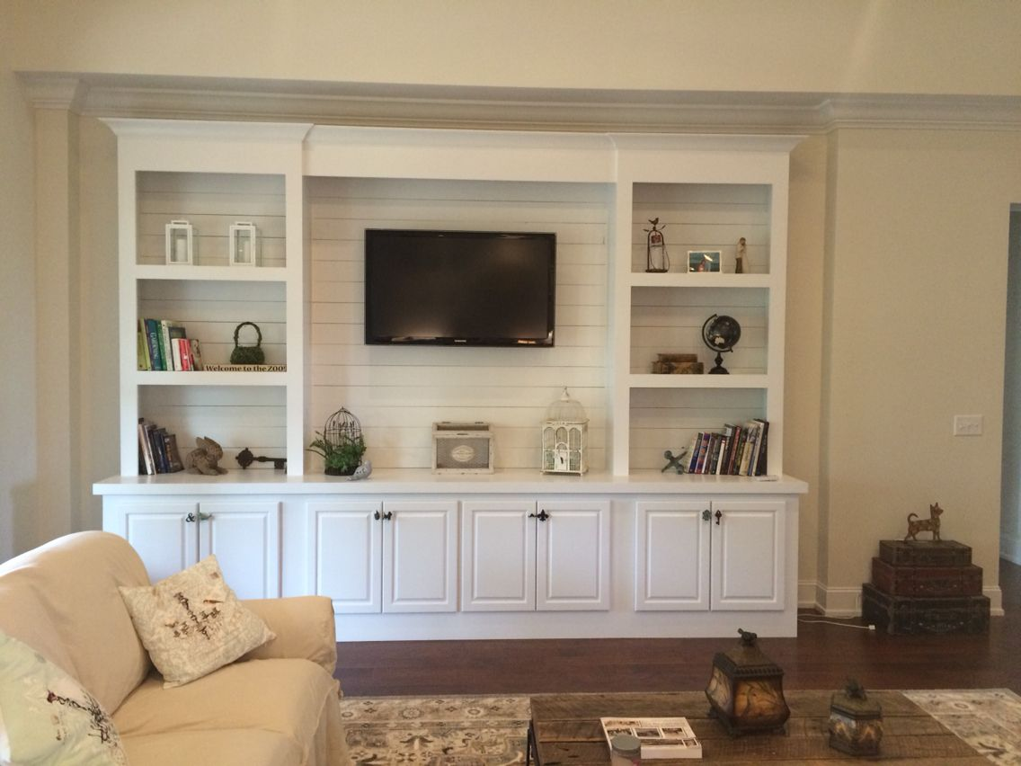 Built In Bookcase With Shiplap Back Pallet Tv Stands Entertainment Centers Pinterest