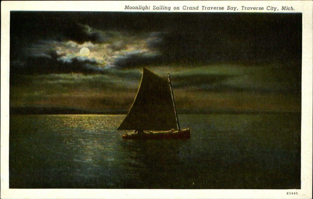 Moonlight sailing Grand Traverse Bay Traverse City Michigan MI unused linen