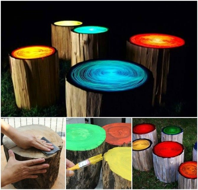 How to Create Glow in the Dark Log Campfire Stools ...