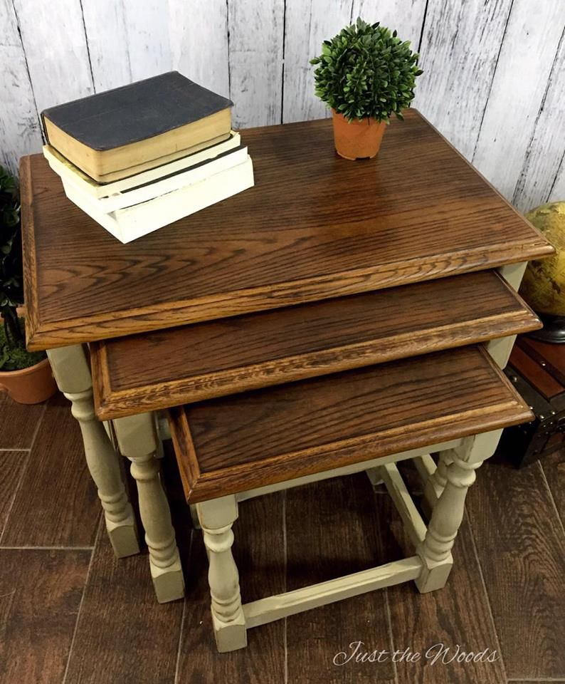 Cheap Antique Furniture For Sale Online: Wood Burning Toasted Oak Stacking Tables