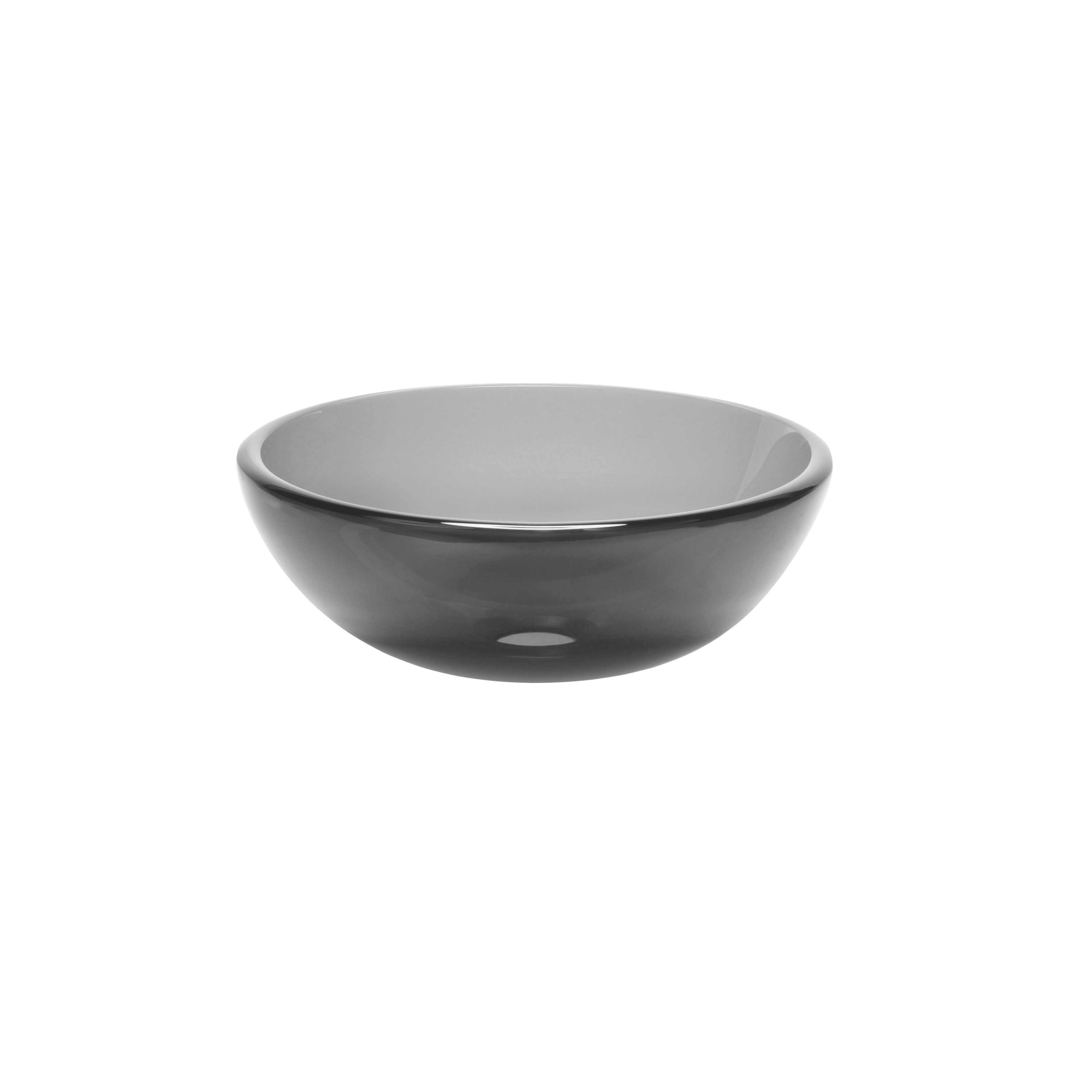 Novatto Grey Mini 12 Inch Glass Vessel Bathroom Sink Gray Glass Vessel Glass Vessel Sinks Grey Glass