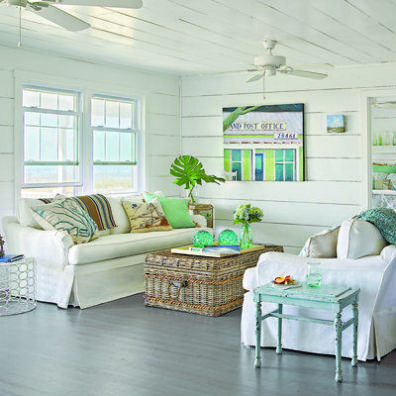 Beautiful Sea Glass Inspired Lamps And Decorative Accessories Bring The Color Of The  Ocean Into This Airy, Cottage Style Living Room On Bald Head Island, ...