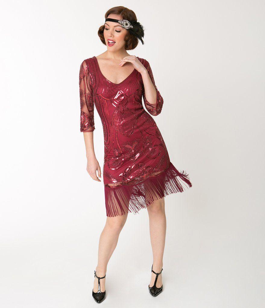 Unique Vintage Burgundy Red Sequin Margaux Sleeved Fringe Flapper Dress Red Flapper Dress Red Beaded Dress Cocktail Dress Vintage