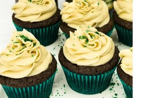 MMMM! Guinness Chocolate Cupcakes with Bailey's Buttercream Frosting! Great for St. Patrick's Day Parties!