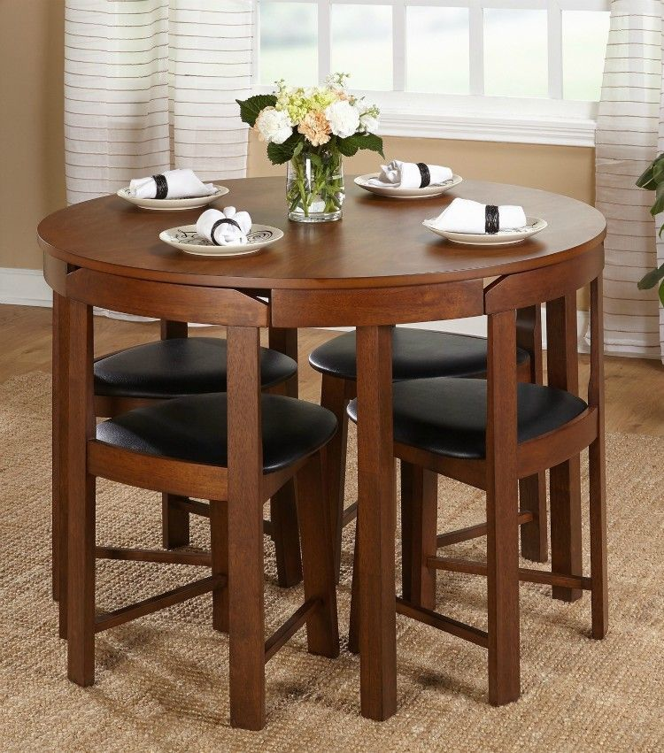 Twenty Dining Tables That Work Great In Small Spaces Living In A Shoebox Round Dining Room Kitchen Table Settings Dining Room Table Set Small round dining table set