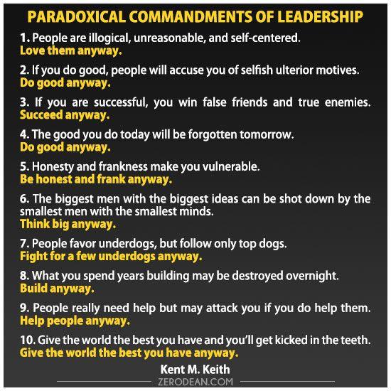 Paradoxical Commandments of Leadership