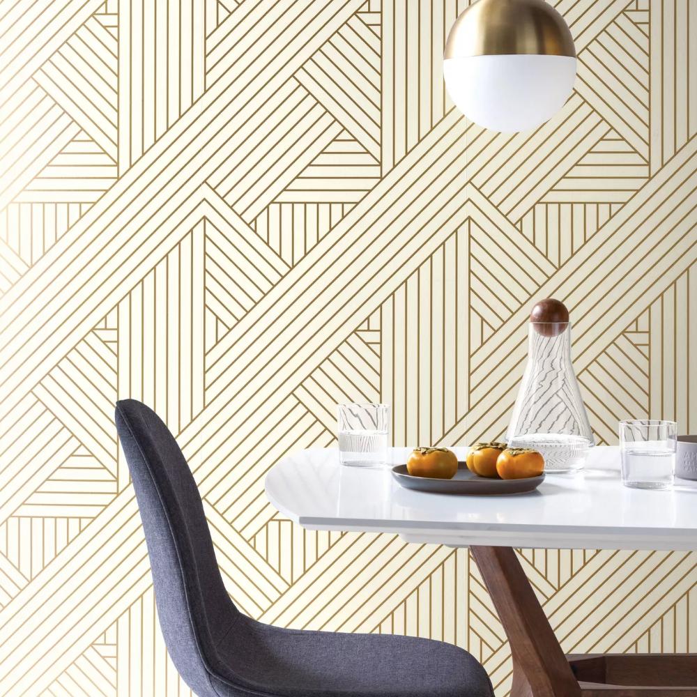 Metallic Ribbon Peel Stick Wallpaper Gold Ivory Project 62 Peel And Stick Wallpaper Flat Paint Removable Wallpaper