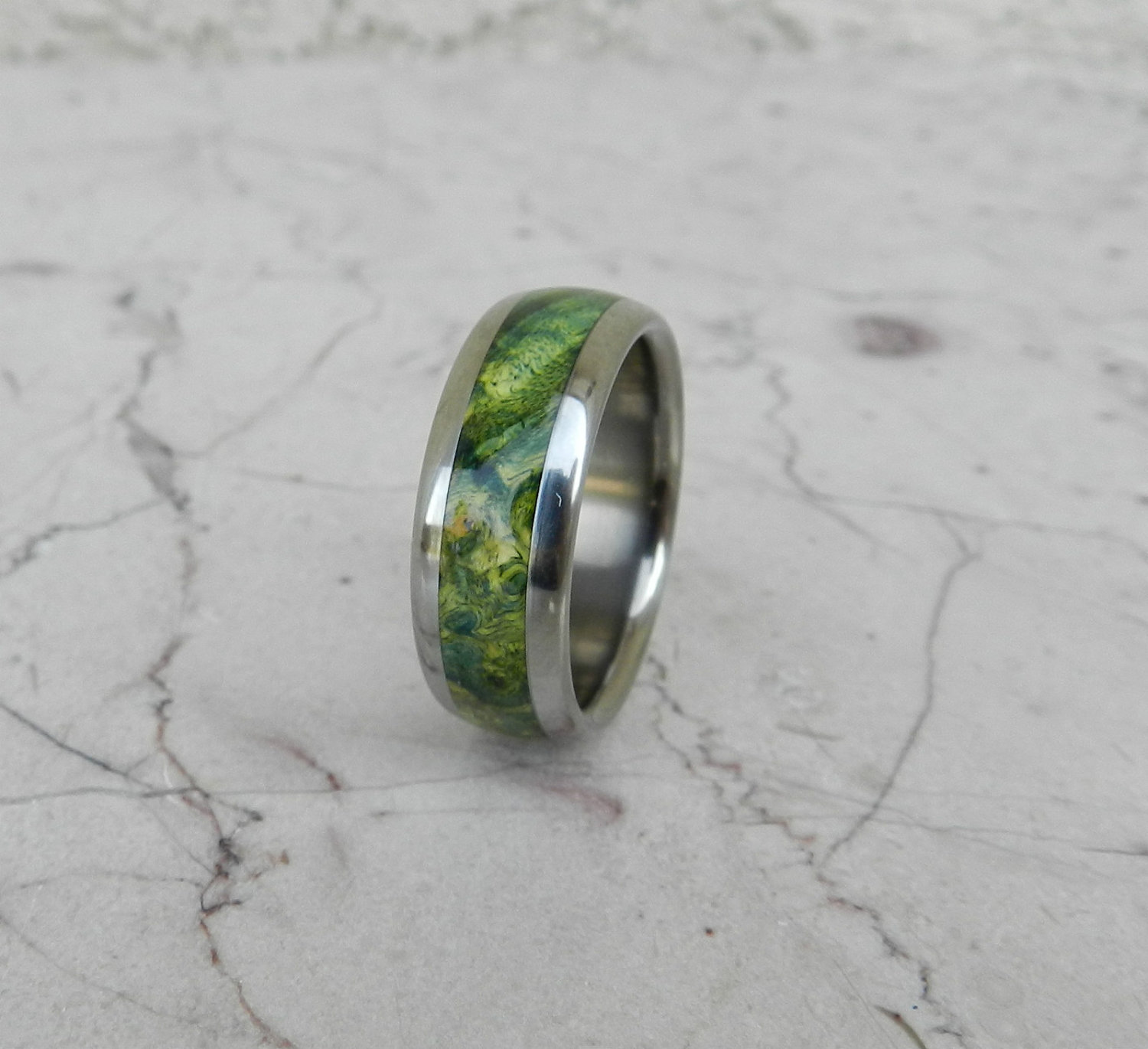 Titanium Wood Ring Green Lantern Box Elder Burl Wooden Band Mens