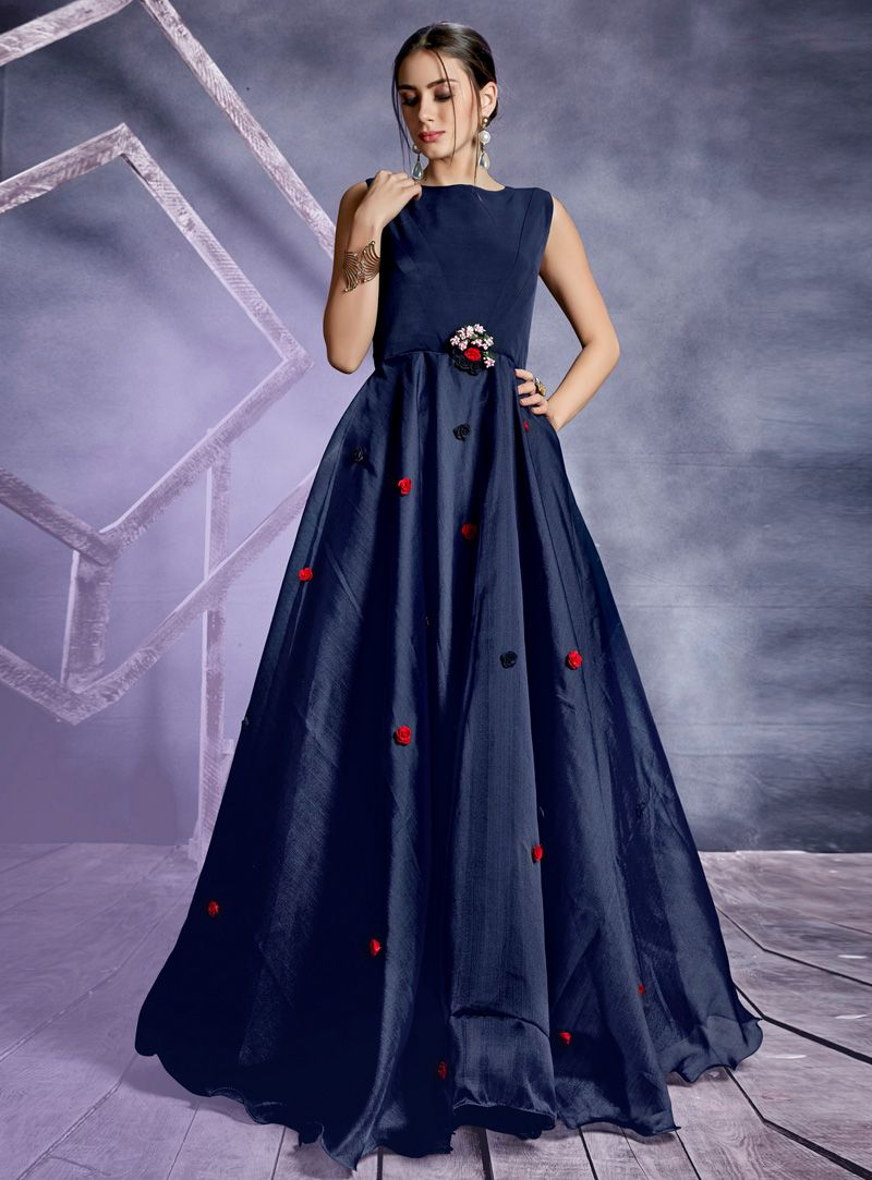 c7b8fff35d7 Shop Navy Blue Silk Readymade Long Gown 153306 online at best price from vast  collection of designer kurti at Indianclothstore.com.