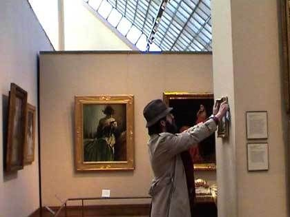 A REAL April Fool… Banksy snuck into four New York museums—the Metropolitan Museum, MoMA, the American Museum of Natural History, and the Brooklyn Museum—in a single day and placed his own work among their exhibitions.