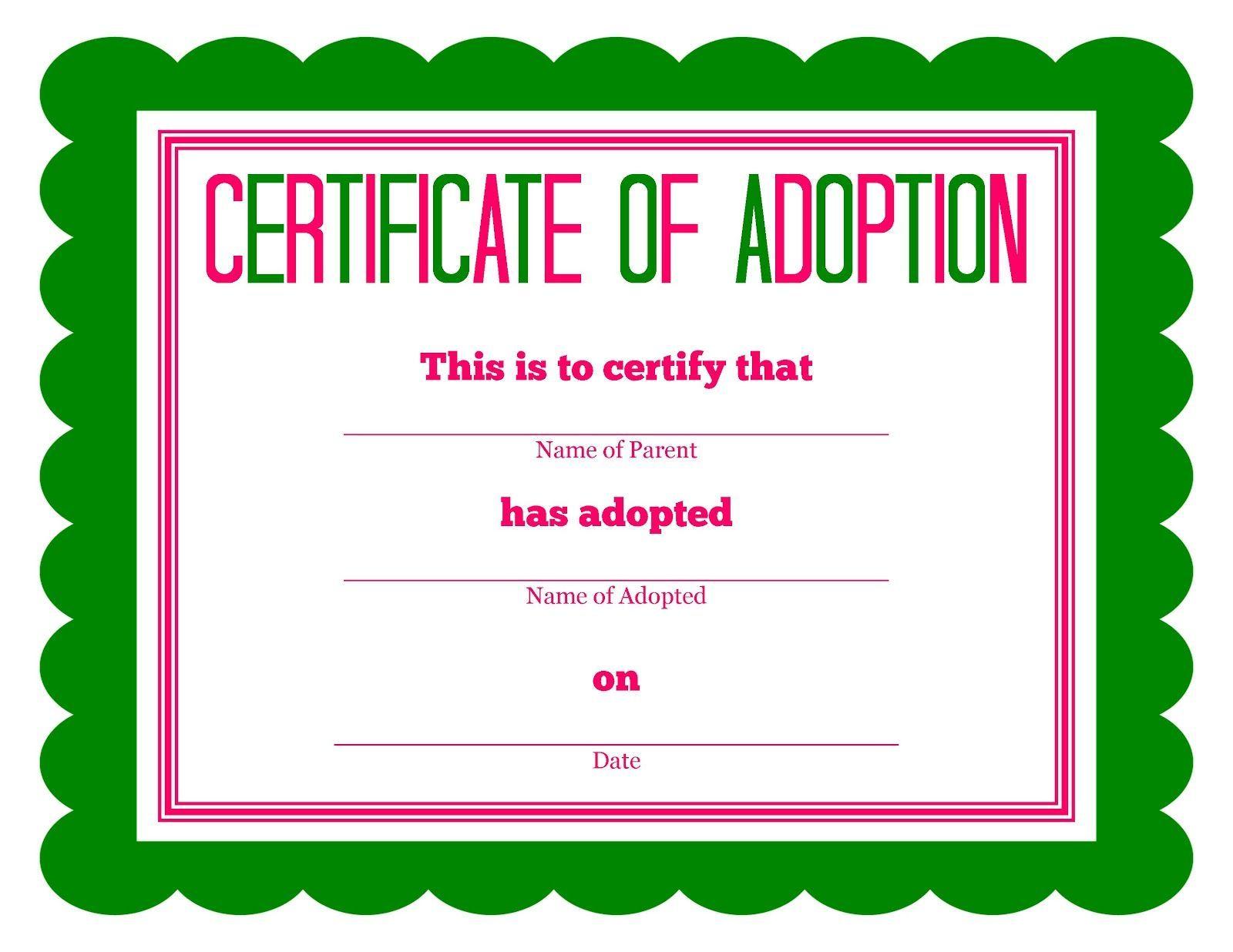 Free Printable Stuffed Animal Adoption Certificate Pet Adoption Certificate Adoption Certificate Birth Certificate Template