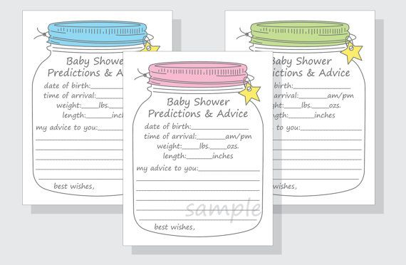 Predictions Advice Game Cards For A Baby Shower Diy Mason Jar