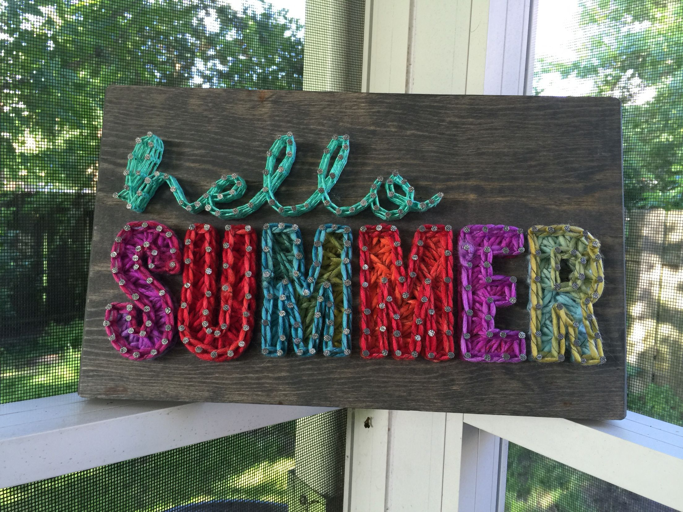 """Hello Summer greeting - offered as a class design or can be made as a custom order. Measures 12"""" x 8"""" and can be ordered at strungbyshawna.com. #stringart #hellosummer #summer #summerdecor #summersign"""