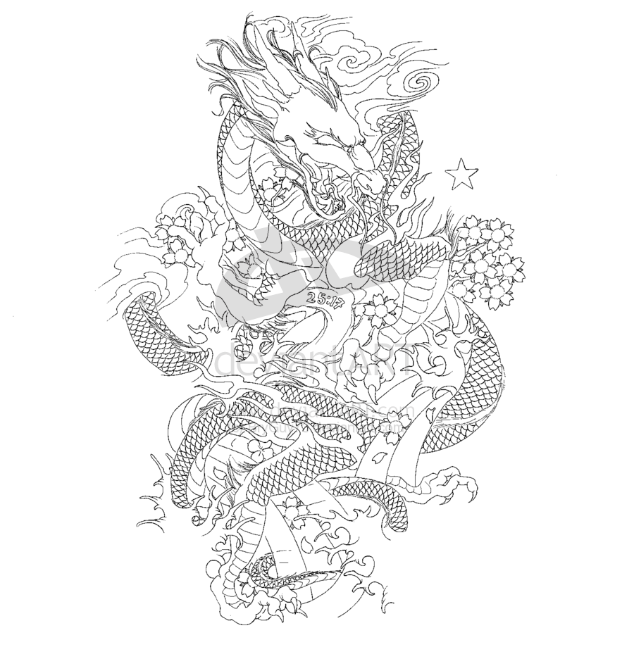 Japanese Dragon Sleeve By Bryguy73 On Deviantart Japanese Dragon Tattoo Japanese Dragon Tattoos Dragon Tattoo Outline