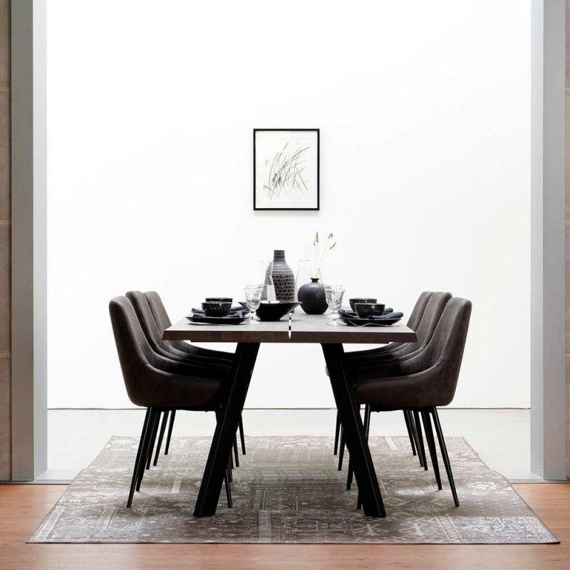 Moderne Tischgruppe mit rauchfarbenem Eichenholz und ...