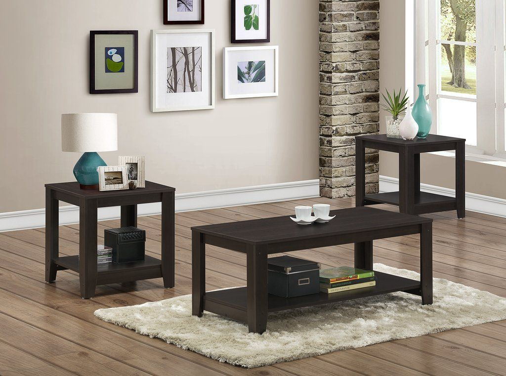 Table Set 3pc Set Cappuccino 3 Piece Coffee Table Set Coffee Table Rectangle Living Room Table Sets Piece living room table set