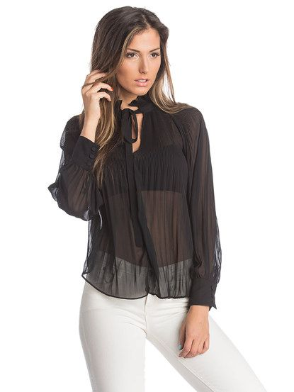 Dámska Šifónová Blúzka COLLEZIONE #sheer #women_blouse #black_fashion #chiffon #women_fashion #fashion_hits #long_sleeve