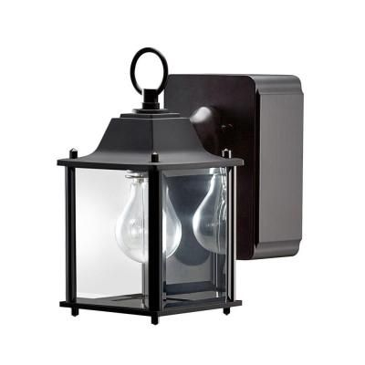 Hampton Bay Mission Style (SML) Wall Mount Outdoor Black Lantern with  Built-in - Hampton Bay Mission Style Exterior Wall Lantern With Built-in