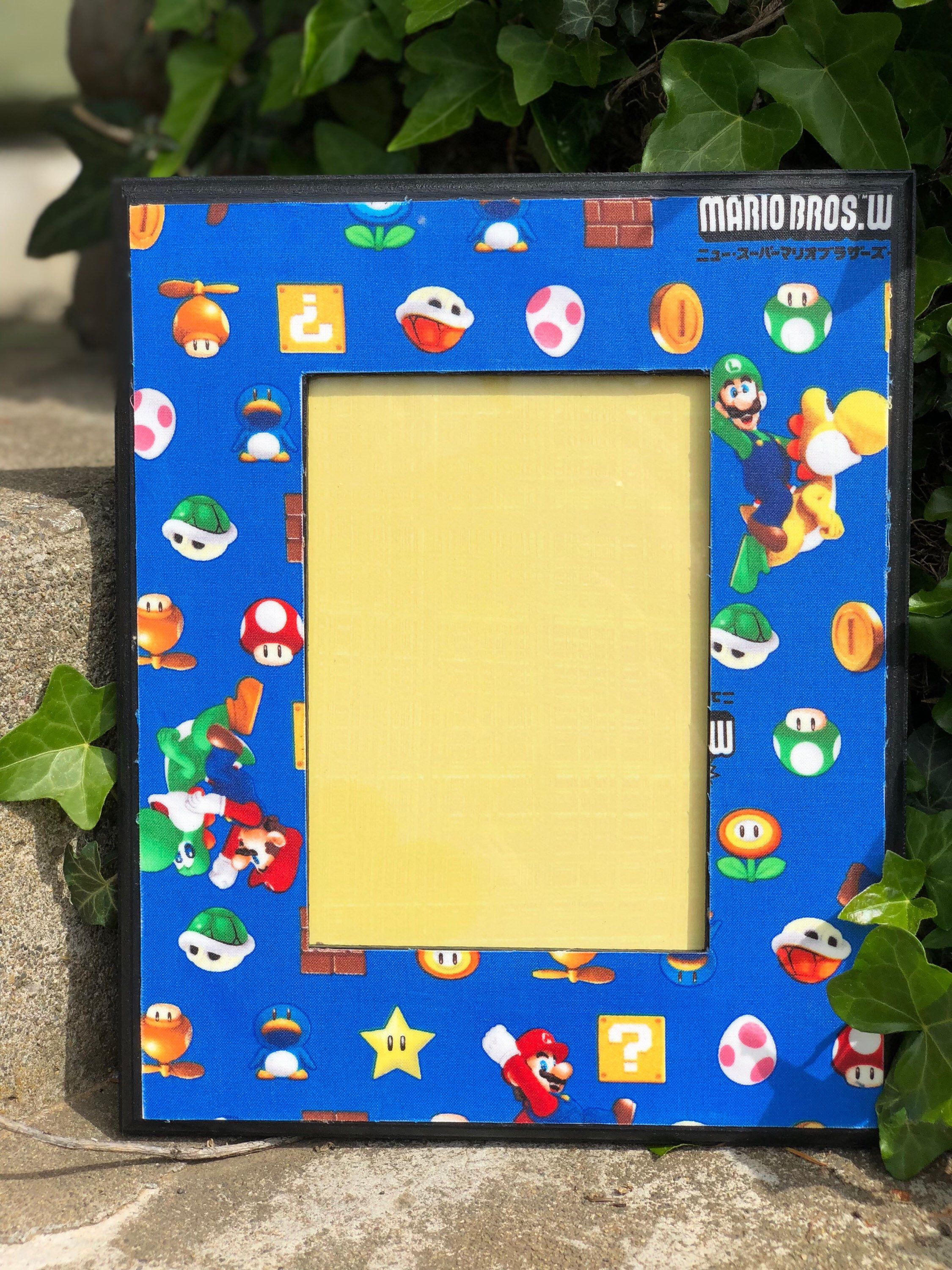 Mario Bros Picture Frame 5x7 Handmade Fabric Wood Frame Home Decor Video Game Frame Mario Fan Nintendo Fan Gam Interior Design Diy Picture Frames Frame