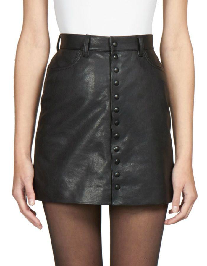 43a10a197 Saint Laurent Buttoned Leather Mini Skirt via saksfifthavenue.com $2,390.00