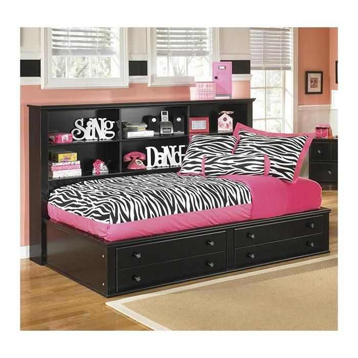 Jaidyn Twin Bookcase Bed In Black Nebraska Furniture