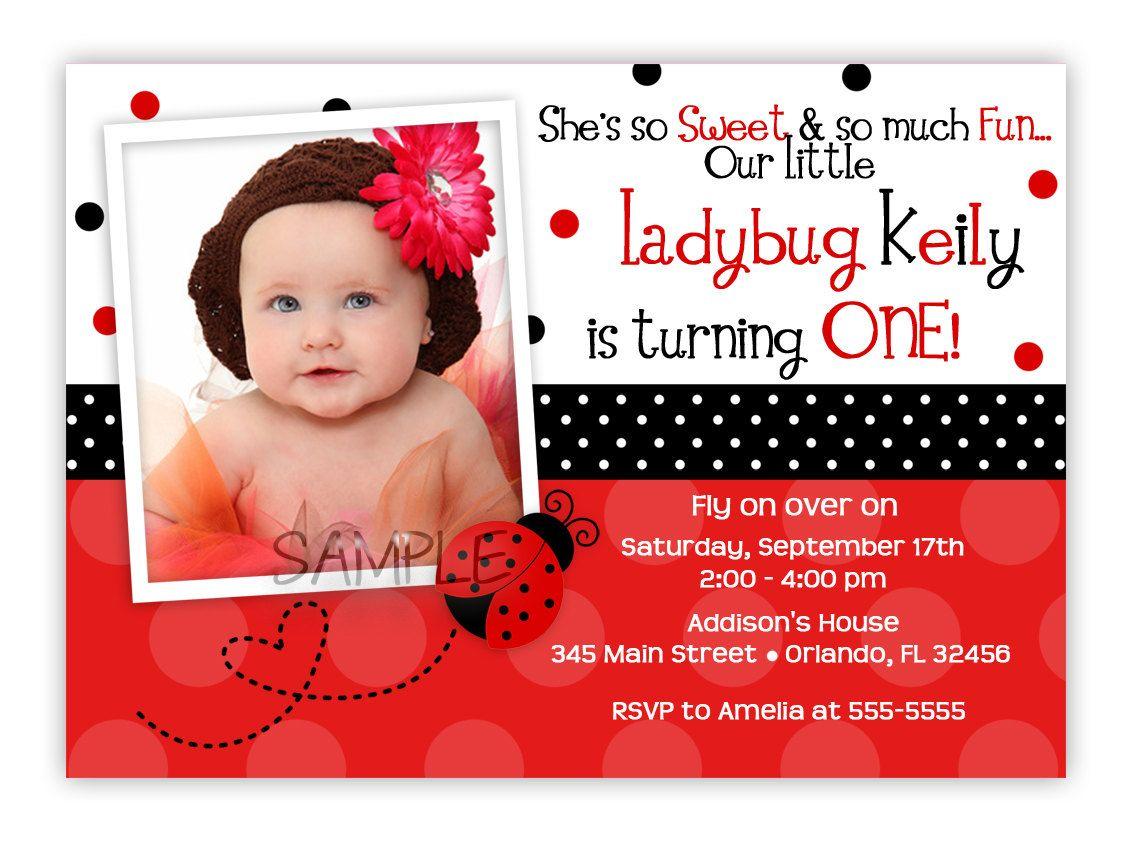 Pink or Red Ladybug Birthday Invitation You by CherishedTimes, via ...
