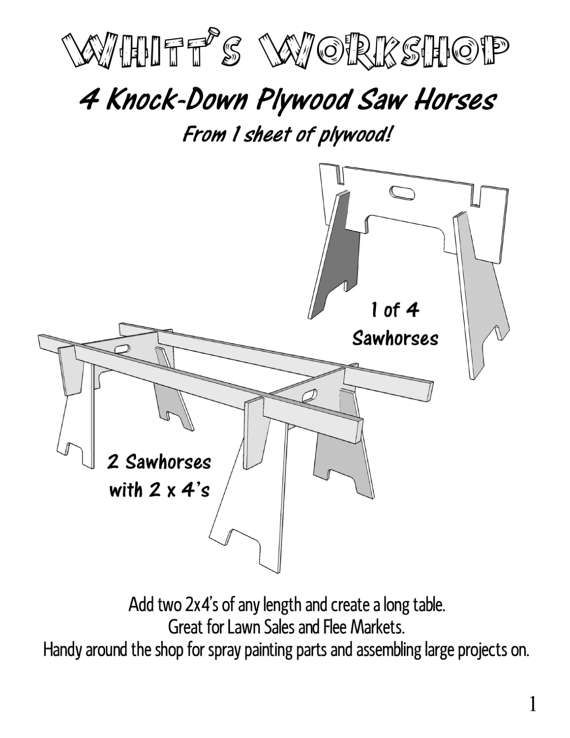 4 Knock Down Plywood Saw Horses From 1 Sheet Of Plywood Etsy Sawhorse Easy Woodworking Projects Woodworking