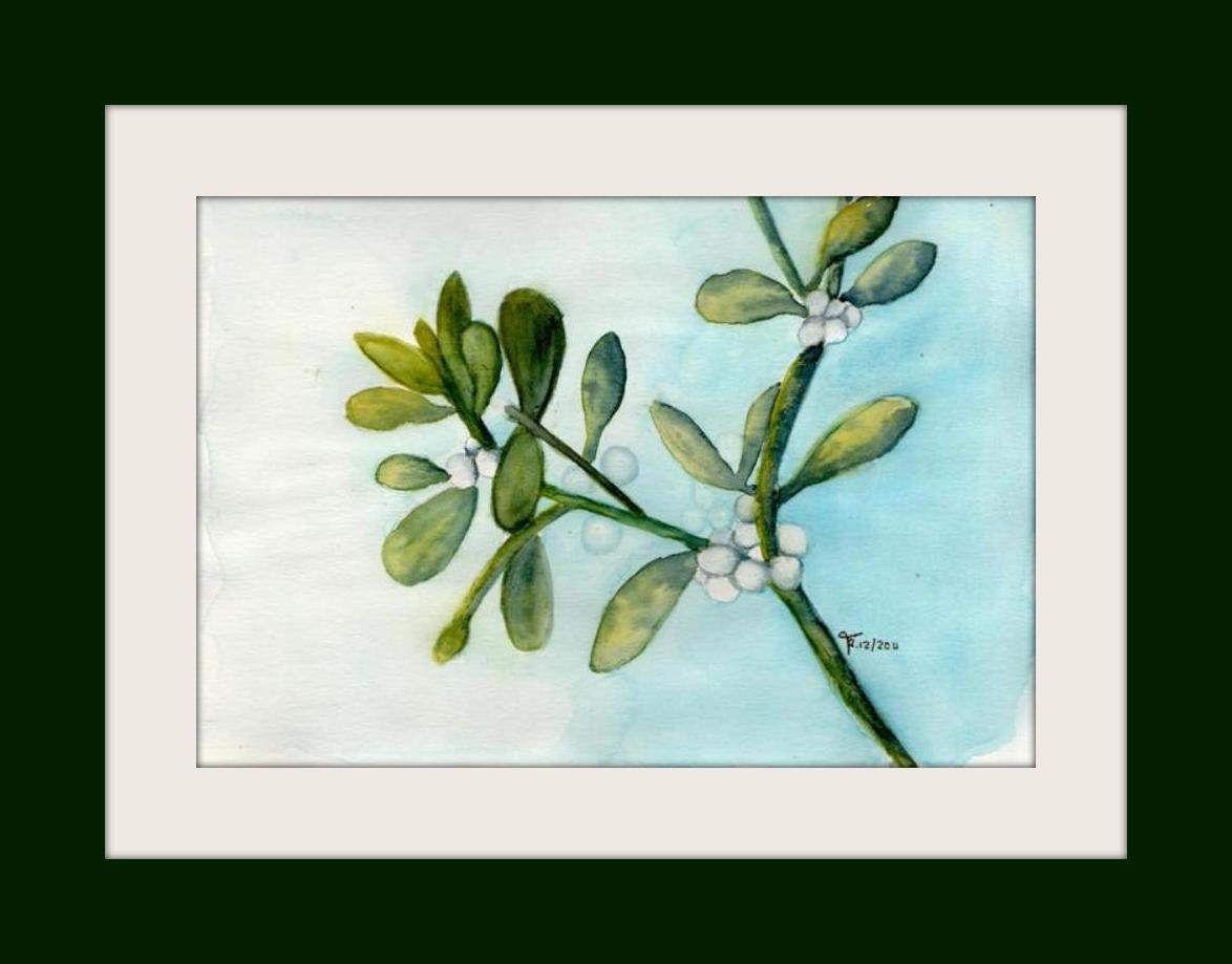 Aquarell - Unikat - Mistelzweig - 15x21 cm | Etsy and Watercolor